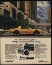 1986 CHEVROLET IROC-Z CAMARO Yellow Sports Car - Delco Bose Stereo - VINTAGE AD