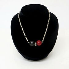 Kette / Necklace von JAKOB BENGEL 30er J. ART DECO m. schwarz + rotem Galalith