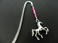 A TIBETAN SILVER  HORSE CHARM & PINK CRYSTAL BOOKMARK. NEW.