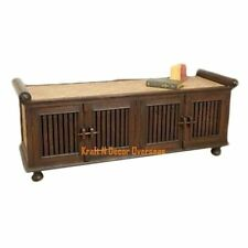 KraftNDecor Wooden Bench/Sofa cum Cabinet in Contemporary design in Brown Colour
