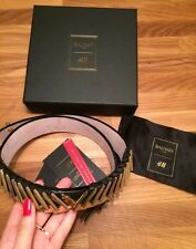 BALMAIN x H&M *RARE* Womens Black Leather Gold Chevron Arrow Belt XS X-Small NEW