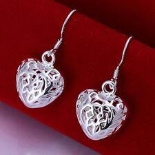 Women 925 Solid Silver Earrings Heart Ear Drop Jewelry Christmas Gift