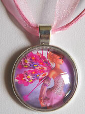 Pink Fairy Cabochon Silver Plated Pendant Organza Ribbon Wax Cords Necklace