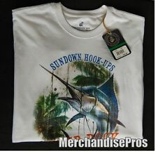 MEN'S CARIBBEAN JOE SUNDOWN HOOK-UPS BLUE MARLIN GRAPHIC FISHING T-SHIRT MEDIUM
