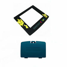 New TEAL Game Boy Color Battery Cover + Pokemon Pikachu Screen GBC
