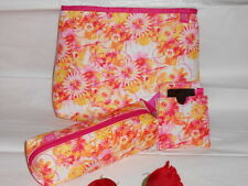 The Body Shop Floral Cosmetic Bag + Brush Purse + Mirror With Case NWT