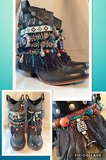 UPCYCLED Cowboy boots Gypsy Boho Hippy Festival *LEATHER* UK 6 BESPOKE