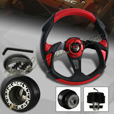 320MM Black/Red PVC Leather Type-B 6 Hole Racing Steering Wheel + For Toyota HUB
