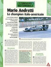 Pilote Mario Andretti Grand Prix de France Formule 1 Lotus Car Auto FICHE FRANCE