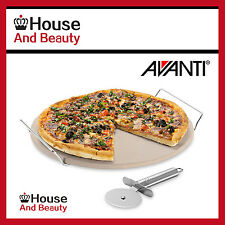 NEW Avanti Round Pizza Baking Stone 33cm with Rack and Pizza Cutter Code: 12291