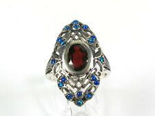 2ct Natural Garnet and Opal Victorian Deco Sterling Silver Filigree Ring 1042O