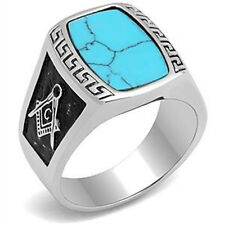 316 Stainless Steel Synthetic Turquois Two-Tone Mason Masonic Men's Ring Size 12