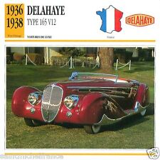 DELAHAYE TYPE 165 V12 1936 1938 CAR VOITURE FRANCE CARTE CARD FICHE