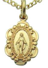 MRT Miraculous Mary Medal 14KT Gold Over Solid Sterling Silver wChain Boxed 1/2""