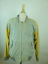 VINTAGE HUGO BOSS GOLD GRAY SUEDE LEATHER MOTO BOMBER JACKET COAT L XL