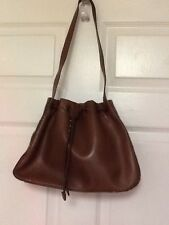 Etienne Aigner ladies handbag tote shoulder bag bucket brown leather H15