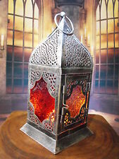 MOROCCAN LANTERN CANDLE HOLDER # ANTIQUE SILVER METAL MOROCCAN STYLE LANTERN NEW