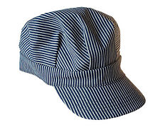 ADULT BLUE STRIPED ENGINEER'S TRAIN HAT CAP RAILROAD