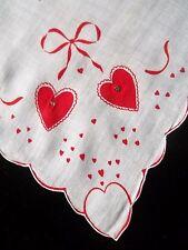 Vintage Novelty Valentines Day Hankie Red Hearts & Rhinestone Handkerchief 997