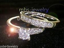 WEDDING SET RING 18K WHITE GOLD GP CREATED BRILLIANT CUT DIAMOND RING Size Q