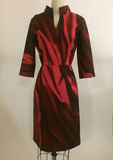 NWT Oscar de la Renta Merlot Red Mikado Silk Print Fitted Shirt Dress 6 $2155