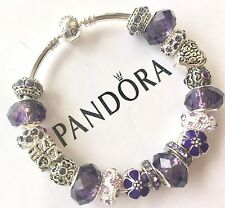 Authentic Pandora Silver Charm Bracelet With White Love Purple European Charms