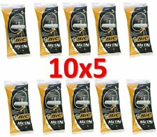 Lot of 50 BIC METAL Mens Disposable Razors (10 packs of 5 shavers) Free Shipping