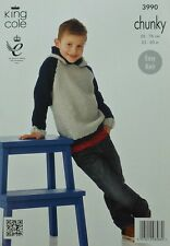 KNITTING PATTERN Boys Easy Knit Two Colour Hoodie Jumper DK King Cole 3990