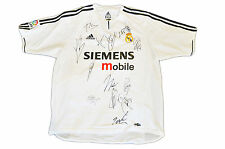 REAL MADRID JERSEY SQUAD GENUINE HAND SIGNED SHIRT FIGO ZIDANE RAUL +PHOTO PROOF