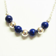 Sterling Silver Necklace with Genuine Lapis Lazuli Gemstone Beads 18 inch