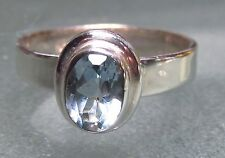 925 silver everyday cut blue topaz ring UK M¼/US 6.5