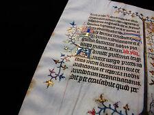 1370 Médiévale Parchemin, Superbe feuille Enluminé, Manuscript Vellum...S05