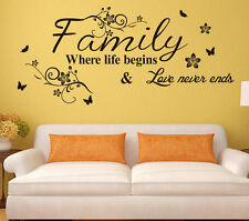 Family Quote Life Love Wall Sticker Art Vinyl Home room Decal Decor Mural