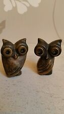 A PAIR OF MICHEL FAGET MINATURE BRONZE OWLS