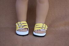 Doll Clothes fitting 18 in American Girl Dolls Yellow Faux Leather Euro Sandals