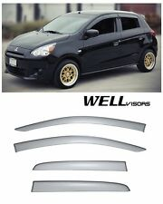 WellVisors Clip On Smoke Tinted Side Window Visors For 14-15 Mitsubishi Mirage