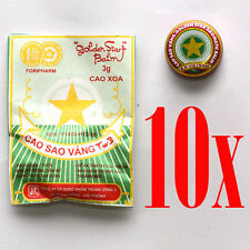 10 Boxes x 3g Golden Star Aromatic Balm - Vietnamese Cao Sao Vang Ointment