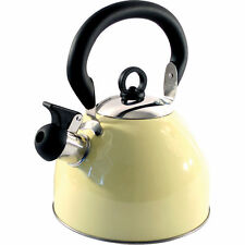2.5L Stainless Steel Whistling Kettle Electric Gas Hob Camping Cream