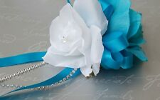 Wrist Corsage:White Malibu(Turquoise) with bling Silk flower