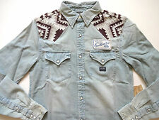Ralph Lauren Denim and Supply Chambray Indian Embroidered Denim Shirt Slim XL