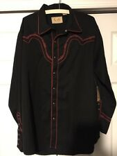 NEW NWT LARGE Scully Men Western Black Barb Wire Yoke & Studs shirt Large P-775