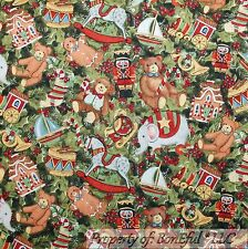 BonEful Fabric FQ Cotton Quilt Green Xmas Tree Red Nutcracker Doll Rocking Horse
