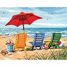 """11 x 14"""" Beach DIY Oil Painting Paint By Number Kit Canvas Art Home Wall Decor"""