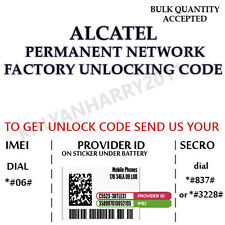 ALCATEL UNLOCK CODE FOR ONE TOUCH OT-4013X  OT-4013D  OT-4013K  OT-4013M  4013E