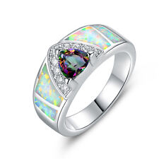 18K White Gold Plated White Lab Created Fire Opal and mystic, white topaz Ring