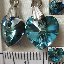 Handmade Earrings using SWAROVSKI element 1cm AB crystal heart Bermuda blue US