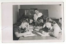 RPPC Girls Studying at School, Vintage Real Photo Postcard
