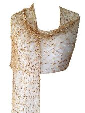 Scarf Wrap Shawl Lace Style Gold Beige Cream Cobweb Lacy Fair Trade Wedding