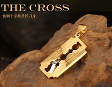 RAZOR BLADE CROSS PENDANT Necklace Titanium Steel 18K Gold Plated