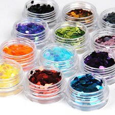 Fashion Gallery12 Big Hexagon Glitter Nail Art Deco Kit Acrylic Powder Dust Deco